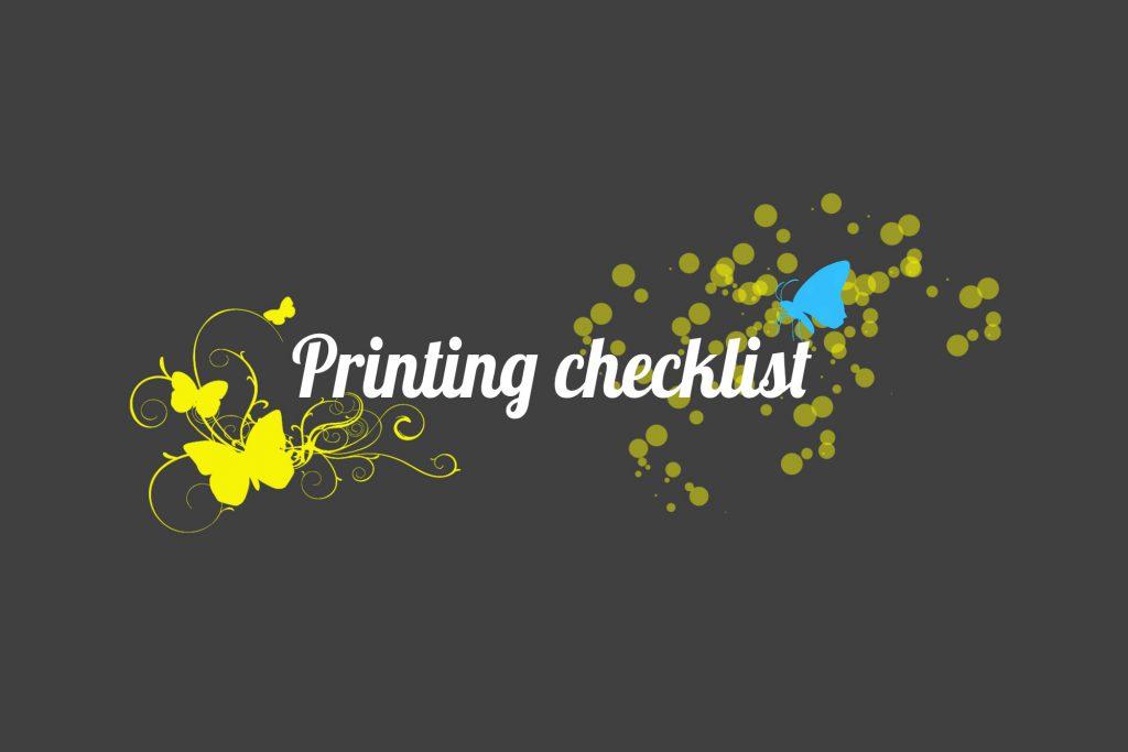 Printing checklist form